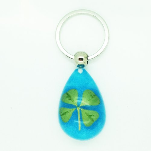 Celtic Lucky Real 4 Four Leaf Clover Good Luck Sparkling Blue Keyring with Gift Box & Guarantee