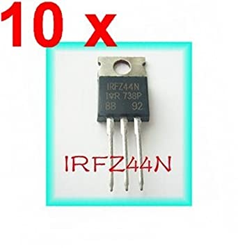 SUNKEE 10pcs IRFZ44N IRFZ44 Power MOSFET 49A 55V TO-220