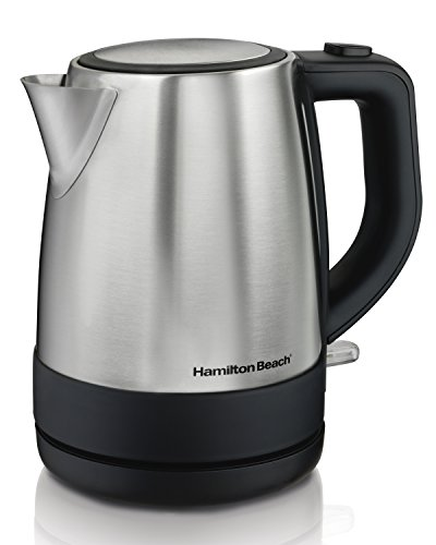 Hamilton Beach Electric Tea Kettle, Water Boiler & Heater, 1 L, Cordless, Auto-Shutoff & Boil-Dry Protection, Stainless Steel (40998)