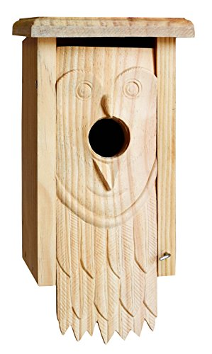 Cedar Screech Owl House - Welliver Outdoors Carved Bird House, Owl