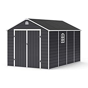 BillyOh 8x12 Plastic Garden Shed with Foundation Kit Grey
