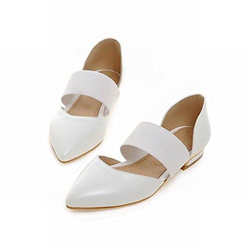 Mee Shoes Damen bequem modern spitz Gummiband Geschlossen Knöchelriemchen Niedrig Pumps Weiß