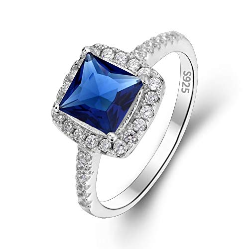 EVER FAITH 925 Sterling Silver Accessory Princess Cut .25ct Sapphire Color CZ Engagement Ring - Size 6