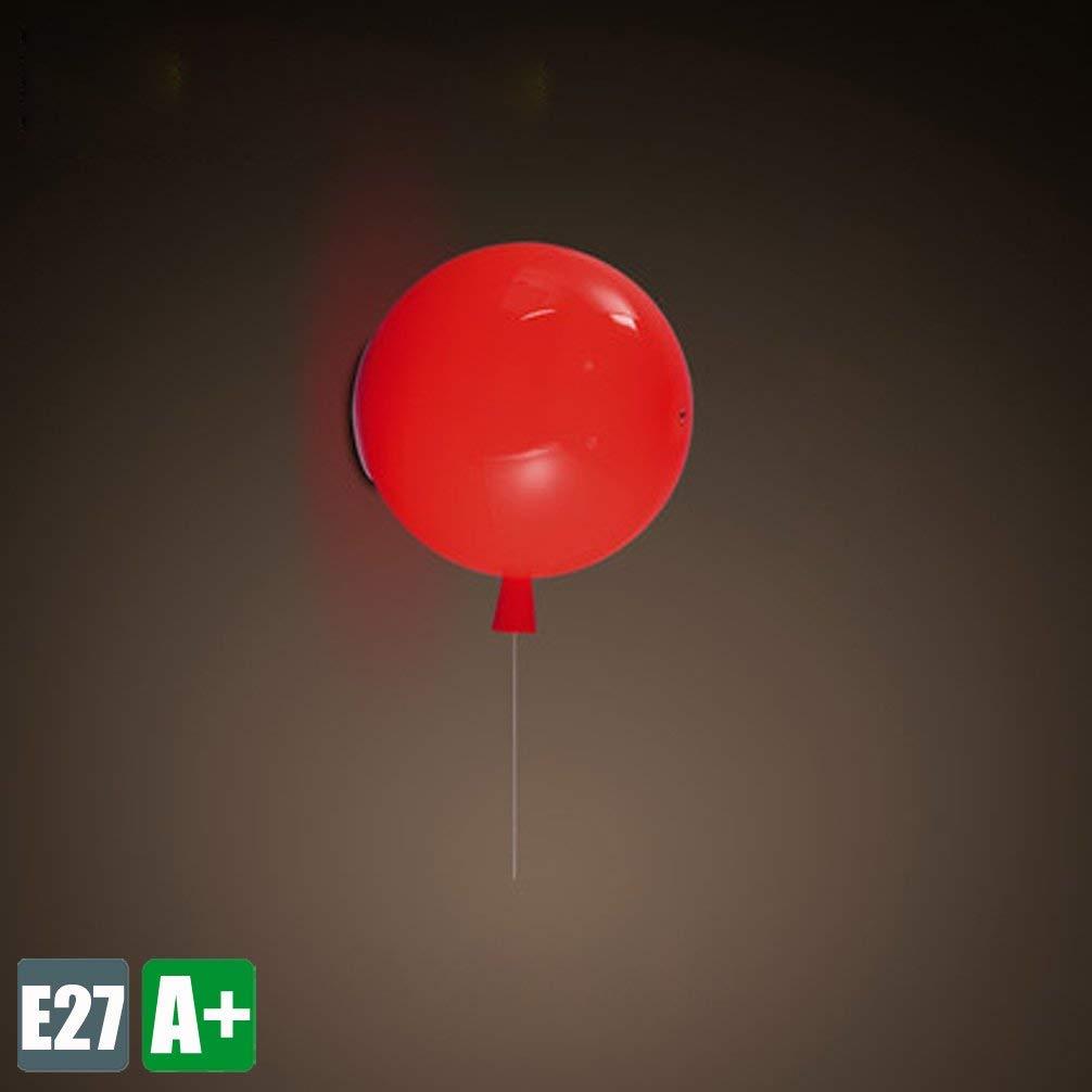 Modern WandLeuchte Kinder zimmer Kreative WandLampe Ballons Design Innenbeleuchtung Dekoration Beleuchtung Einfaches Sconce Schön Schlafzimmer Leuchte Korridor Lampe Acryl lampenschirm 1E27 (Rot)