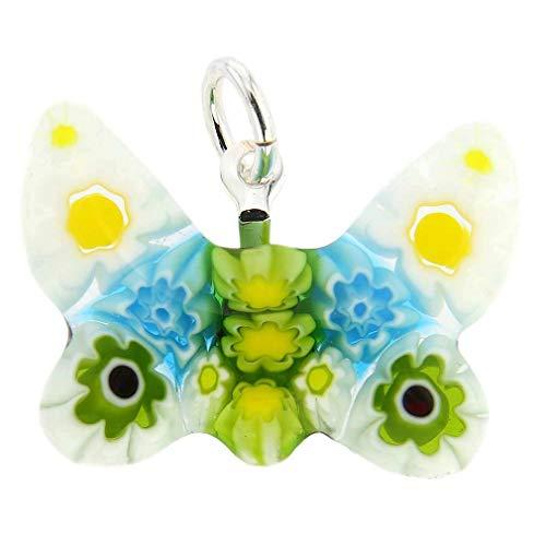 (GlassOfVenice Murano Glass Millefiori Small Butterfly Pendant)