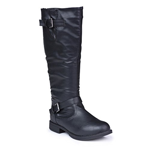 Twisted Women's Amira Wide Width, Wide Calf Knee-High Riding Boot- BLACK, Size 10 (Wide Ladies Dress Shoes Width)