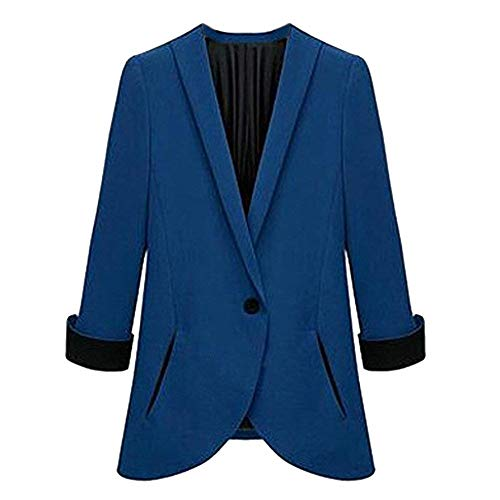 Button Da Colori Manica Glamorous Elegante Giacca Outwear Outerwear Misti Blazer Bavero Blau Lunga Autunno Tailleur Semplice Irregular Donna Business Bqf5Yw