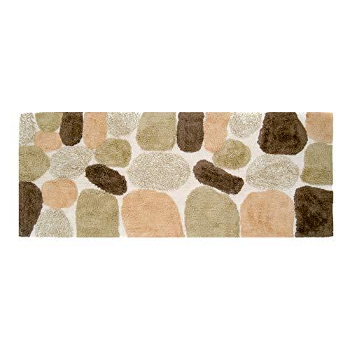 Chesapeake Merchandising Pebbles Cotton 24 in x 60 in Bath Runner, Spa (Bath Mat Patterned)