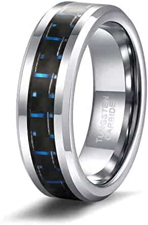 78ecca499e Shuremaster 6mm 8mm Tungsten Ring for Men Women Blue and Black Carbon Fiber Inlay  Wedding Band