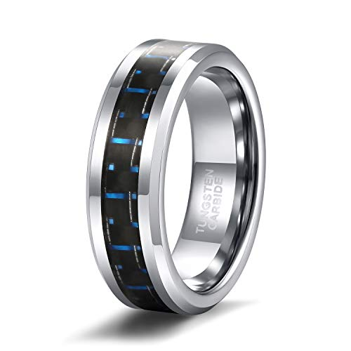 Shuremaster 6mm Unique Durable Blue and Black Carbon Fiber Inlay Tungsten Ring for Couples Set Unisex Comfort Fit