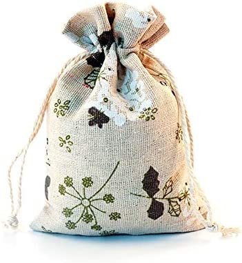 ギフトバッグ - 50個、プリント綿布で巾着ギフトバッグ、スモール収納バッグ、キャンディバッグ、ジュエリーバッグ、結婚式バッグ、10 * 14cmの 繊細