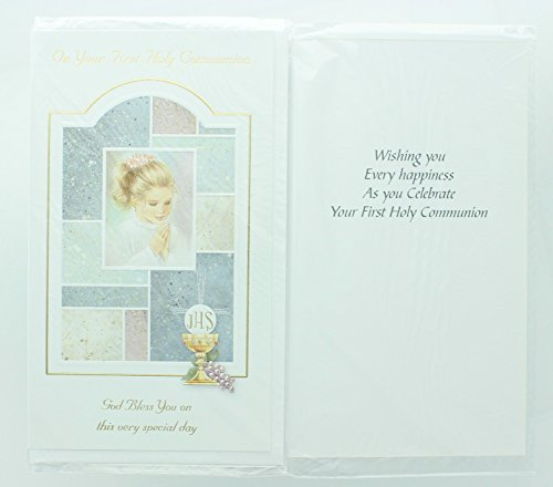 RA001 Girls First Holy Communion Greeting Card. Includes envelope.