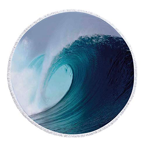 iPrint Thick Round Beach Towel Blanket,Ocean Decor,Tropical Surfing Wave on a Windy Sea Indonesia Sumatra Decorative,Multi-Purpose Beach Throw by iPrint