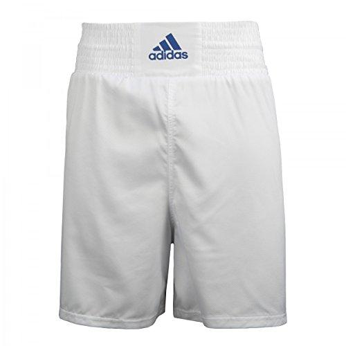 adidas White Diamond Poly Boxing Trunks, White/Blue, Large