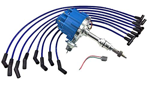 A-Team Performance HEI Distributor 65K Volt Blue Cap, 8mm Silicone Spark Plug Wires Blue and Pigtail Wiring Harness Kit Compatible with SBF Small Bock Ford 221 260 289 302 (Ford Distributor)