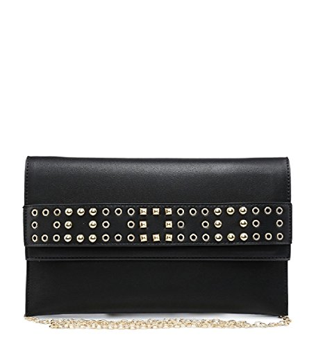 M613 Envelope Women's Handbag Ladies Party Black Bag Clutch Studded EAMUK Evening zwZn41Cq1O