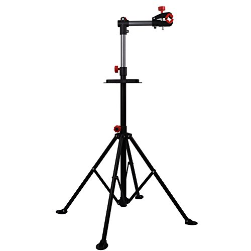Hromee Portable Bike Repair Stand,Adjustable Height Bicycle Maintenance Rack Workstand With Tool Tray