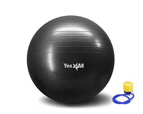 Anti Burst Stability Ball with Foot Pump - 55 cm - Black - PZZXZ