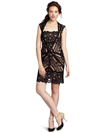 Nicole Miller Women's Cutout Back Stretch Lace Dress, Black, Small