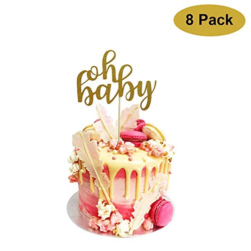 8 Pack Oh Baby Cake Topper, Oh Baby Shower Cake Topper Decorations,Glitter Gold,