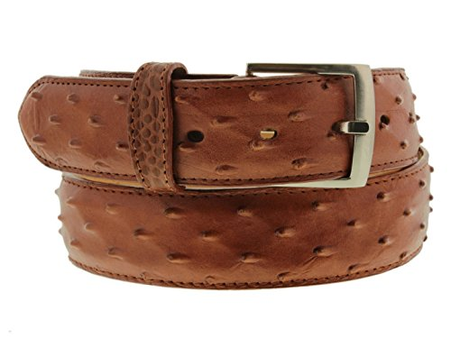 Silver Brown Stingray Leather - Cowboy Professional - Men's Crocodile Ostrich Print Leather Western Rodeo Belt Silver Buckle
