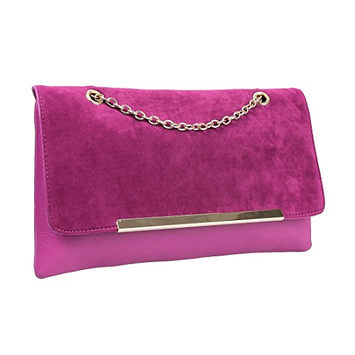 BMC Cute Fuchsia Pink Faux Suede Leather Gold Metal Chain Accent Envelope Style Clutch Handbag