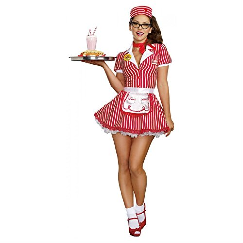 Car Hop 50s Costumes (Car Hop Costume Adult 50s Waitress Halloween Fancy Dress (1x2x (plus size 1x/2x)))