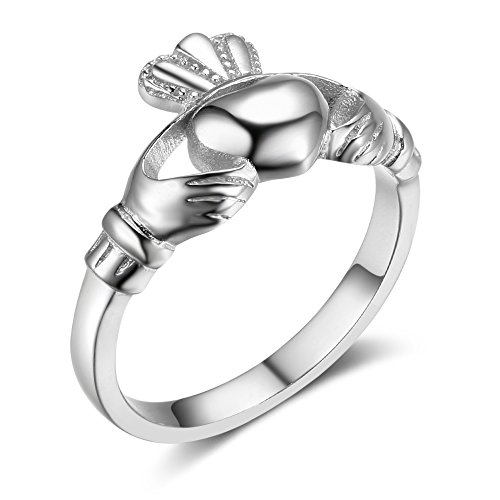 Sterling Silver Ladies Claddagh Ring - Furious Jewelry S925 Sterling Silver Irish Ladies' Claddagh Ring, Size 6 7 8 9 (7)