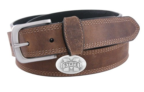 NCAA Mississippi State Bulldogs Light Crazyhorse Leather Concho Belt, Light Brown, - Leather Brown Belt Concho