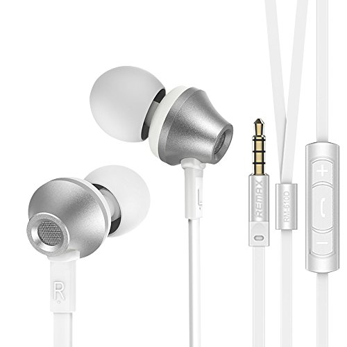 Remax 610D - Stereo In-ear Earbuds Headphones / Earphones with Dynamic Mic, Ear Plugs, Tangle Free Flat Cable, High Fidelity Sound Quality and Heavy Bass for Android & iPhone 3.5mm Jack (Silver)