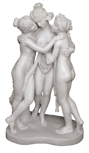 The Three Graces Greek Statue Sculpture - H: 28 Inch - Original Marble Statue By Canova
