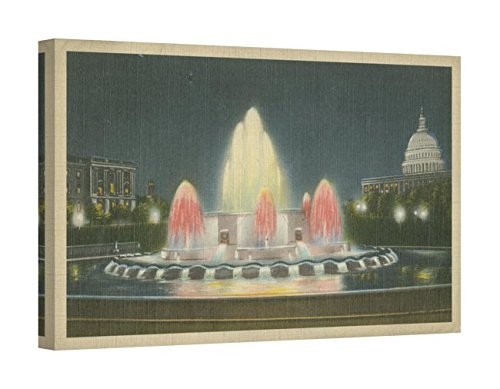 Easy Art Prints Unknown's 'Illuminated Fountain Capitol Plaza' Premium Canvas Art 24 x 15