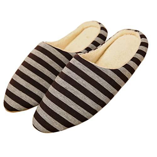 Coton Chaussures Chaud Femmes Slip Hiver Hommes Rayées Pantoufles Maison Zoucy on Café wOvx7Rfqv