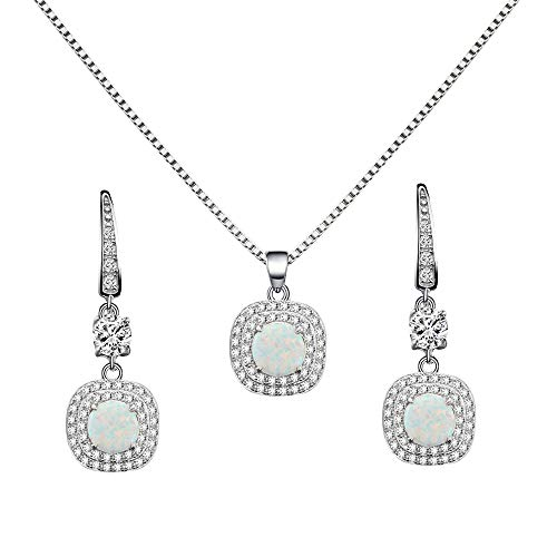 - Lavencious 925 Sterling Silver Necklace and Earrings Sets with Round White Opal/Clear Cubic Zirconia CZ Stones and Italian Box Chain for Women (White)