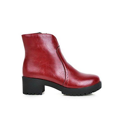 VogueZone009 Damen Rund Zehe Mittler Absatz PU Rein Reißverschluss Stiefel, Rot, 38