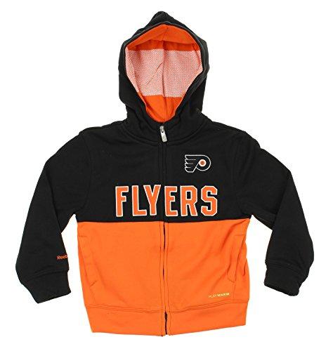 Reebok NHL Philadelphia Flyers Kids Drop Pass Full Zip Hoodie, Orange (Orange Reebok Hoodie)