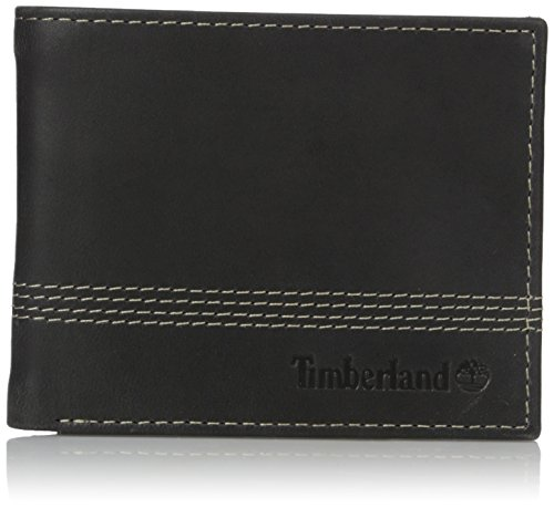 - Timberland Men's Leather Slimfold Wallet with Matching Fob Gift Set, Black, One Size