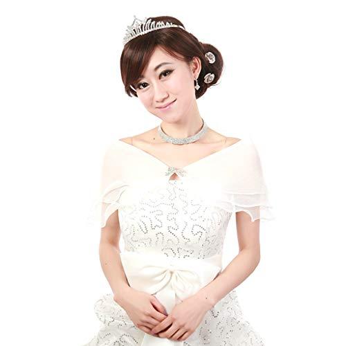 PoityA White Elegant Multi Layer Tulle Shawl Rhinestones Wedding Wrap Bridal Seersucker Short Coat Fairy Marriage Accessories (Seersucker Wrap)