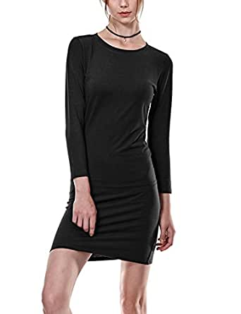 Regna X Womens Casual Loose 3 4 Sleeve Tunic dress Black S