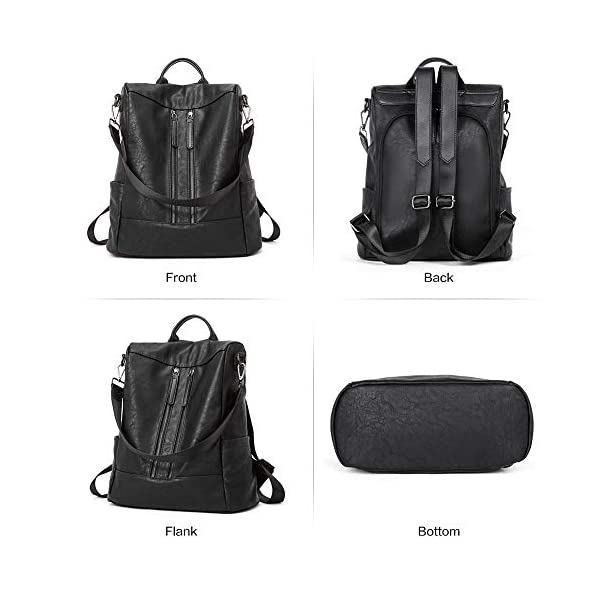 BROMEN Women Backpack Purse Leather Anti-theft Travel Backpack Fashion Shoulder Handbag 3
