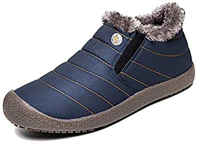 Eagsouni Womens Mens Snow Boots Winter Shoes Slip On Ankle Booties Anti-Slip Water Resistant Fully Fur Lined Outdoor Sneakers Blue Size: 5.5 Women/4.5 Men