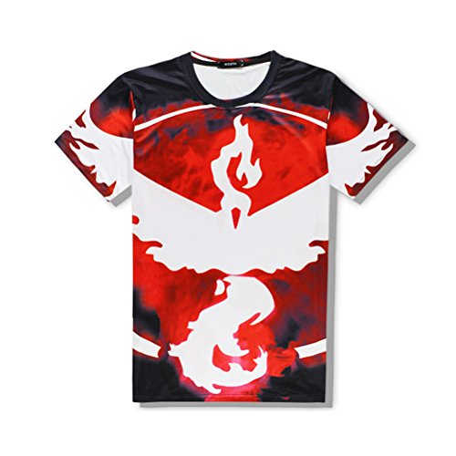 Mens and Womens 3d Printed Pattern Short Sleeve Shirt Cool Graphics Tees red-XXL