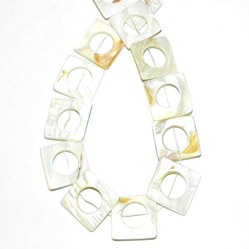 Natural White 25mm Flat Square Donut Mother of Pearl Shell Beads 12#ID-4060