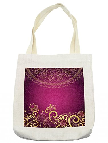 Lunarable Pink and Yellow Tote Bag, Vintage Arabian Classic Ornamental Swirled Bohemian Traditional Pattern, Cloth Linen Reusable Bag for Shopping Groceries Books Beach Travel & More, Cream by Lunarable