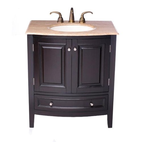 Silkroad Exclusive Travertine Stone Top Single Sink Bathroom Vanity with Furniture Cabinet, 32-Inch