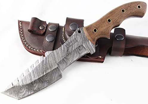 Moorhaus Damascus Knife Handmade Tanto Tracker – Walnut Wood Handle – Includes Leather Sheath – Special Promotional Pricing