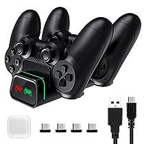 【2020最新版 接触式】PS4 コントローラー 充電器 PS4/PS4 Pro/PS4 Slim 充電 スタンド 2台 急速充電 接触式 超ミニ接続端子付属 LED 指示ランプ&ライトリング付き DUALSHOCK4