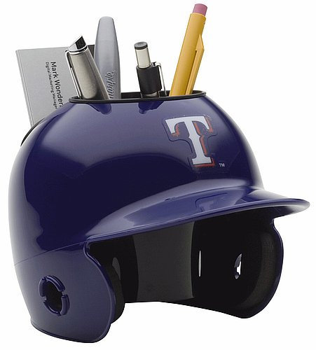 (Schutt MLB Texas Rangers Authentic Mini Batting Helmet Desk Caddy)