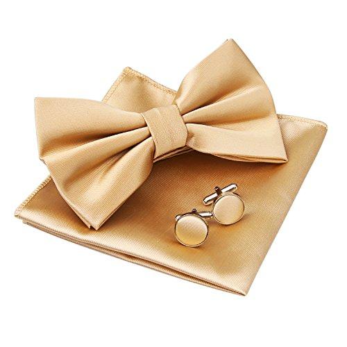 (Alizeal Mens Tuxedo Bow Tie& Hanky& Cufflinks Set (Champagne))