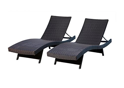 - Oakville Outdoor Patio Rattan Wicker Adjustable Pool Chaise Lounge Chair - Set of 2